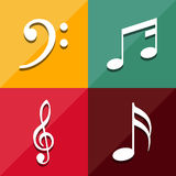 Musical note icons set great for any use. Vector EPS10. Royalty Free Stock Images