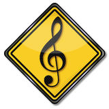 Musical note and music school Stock Image