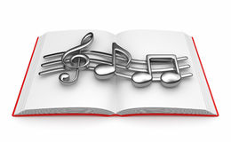 Musical note on opened book 3D.  Royalty Free Stock Photo