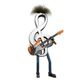 Musical note playing guitar Royalty Free Stock Photos