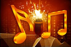 Musical note and retro microphone. Abstract musical background Royalty Free Stock Photo