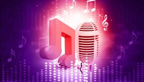 Musical note and retro microphone. Abstract musical background Royalty Free Stock Photos