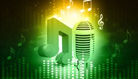 Musical note and retro microphone. Abstract musical background Stock Image