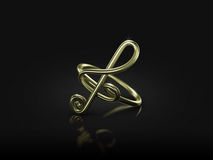 Musical note ring commitment. Commitment musical note ring in black background Royalty Free Stock Image
