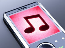 Musical note. On a screen of a smartphone Royalty Free Stock Photography