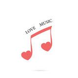 Musical note sign and red heart icon vector logo design template Royalty Free Stock Photo