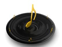 Musical note on speaker Stock Photo