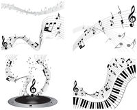 Musical note staff set Royalty Free Stock Photography
