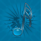 Musical note symbol. Blue dynamic background illustration Stock Images