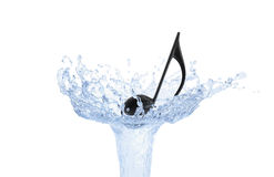 Musical Note on Water Splash Stock Photo