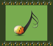 Musical note with the word MUSIC Royalty Free Stock Images
