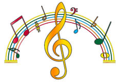 Musical notes. Colorful musical notes  in white background eps Stock Photo
