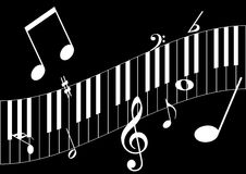 Musical notes. White musical notes  in black background eps Stock Images