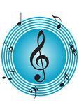 Musical notes. In blue background eps Stock Image