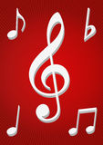 Musical notes. In red background eps Royalty Free Stock Photos
