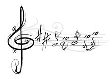 Musical notes. Drawing of musical notes with curls Royalty Free Stock Images