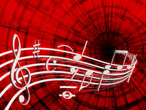 Musical notes. On a red background shows musical notes of white flowers makes a melody stock illustration