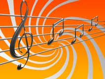 Musical notes. Background with musical notes on staff Stock Photography