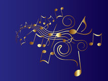 Musical Notes. In gold color vector illustration