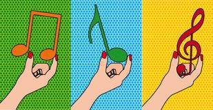 Musical notes. Hands holding musical notes, pop art.  illustration Royalty Free Stock Photo