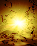 Musical notes. Abstract musical notes against sunset Stock Images