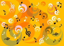 Musical notes. Colored illustration with abstract circles and many musical notes Royalty Free Stock Photo