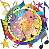 Musical Notes. A colorful musical notes background Stock Photos