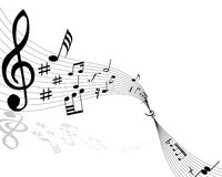 Musical notes. Background with lines. Vector illustration royalty free illustration
