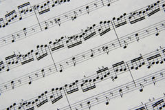 Musical notes. Fragment of musical notes - Bach\'s Prelude and fuge in D from the Well Tempored Clavier Royalty Free Stock Photography
