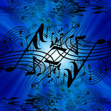 Musical notes. On a bright blue background Stock Photos