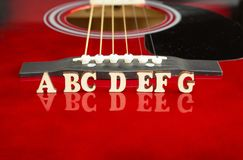 Musical notes ABCDEFG with wooden letters, on reflecting surface of an acoustic guitar. Guitars bridge perspective. Creative