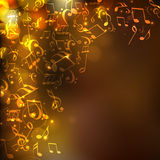 Musical notes with abstract background. Royalty Free Stock Image