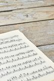 Musical notes background. Classical piano sheets. Vintage music book stock photos