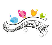 Musical notes with birds Stock Photography