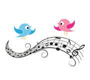 Musical notes with birds Royalty Free Stock Images
