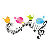 Musical notes with birds Royalty Free Stock Photos