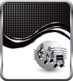 Musical notes on black checkered wave backdrop Royalty Free Stock Photography