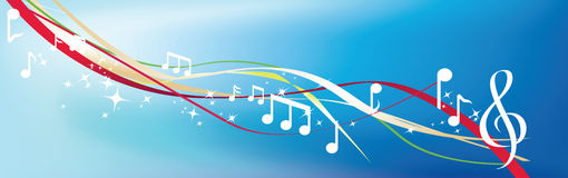 Musical notes on blue Stock Image