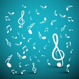 Musical Notes on Blue Background. Vector vector illustration