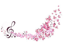 Musical notes with butterflies. Floral musical notes with butterflies Royalty Free Stock Images