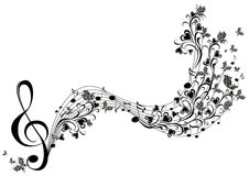 Musical notes with butterflies. Musical floral notes with butterflies Royalty Free Stock Image