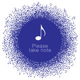 Musical notes buzz around a perfect circle Royalty Free Stock Images