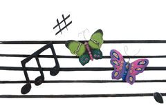 Musical Notes. Cement Butterfly and Musical Notes isolate on white background royalty free stock photography