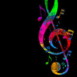 Musical notes on clef Royalty Free Stock Photo