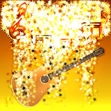 Musical notes in a cloud of stars and guitar Royalty Free Stock Photos