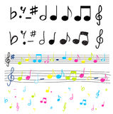 Musical notes colorful and silhouettes vector illu Royalty Free Stock Photo