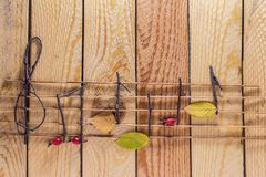 Musical notes conception. Wooden musical notes and leaves royalty free stock images