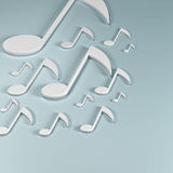 Musical notes. 3d illustration of musical notes on blue background Royalty Free Stock Photos