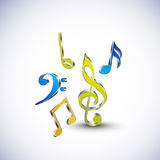 Musical notes in different color. Stock Photos