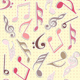 Musical notes with dotted beige background. Stock Photography